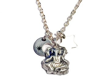 Celestial Charm Necklace - Ganesha, Moon, Star Sterling silver