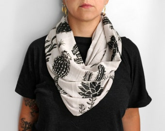 Tan Double Print Infinity Slub Knit Jersey Scarf with Cactus and Succulents Screenprint