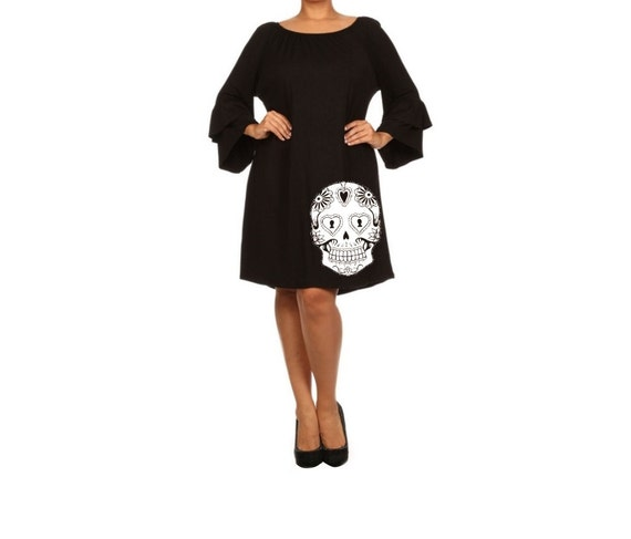 Sugar Skull Dress Women's Plus Size Clothing Black Dress
