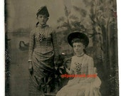 reserved for d ---Tintype dog with bow and girls vintage photo animal