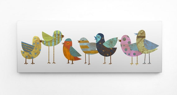 "Gift for Mom- Bird Decor- Flock No. 1 Art Block- 4""x11"" Whimsical Bird Art- Gift for Her- Childrens Art- Bird Art- Kid Decor"