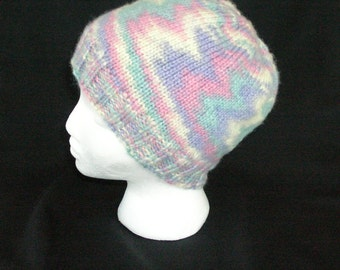 Knitted Hat, Soft Sherbet Colors Pink Purple Blue and Cream