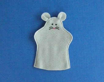 Mouse Hand Puppet Grey, Pink, or Tan Felt