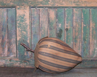 Rustic Strawberry, Farmhouse Decor, Primitive Decor, Vintage Ticking, Shabby Cottage Kitchen Decor, Summer Decor, Blue White - READY TO SHIP