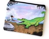 Teef - Zipper Pouch - Seagull Brushing Alligator's Teeth Playing Dentist - Art by Marcia Furman