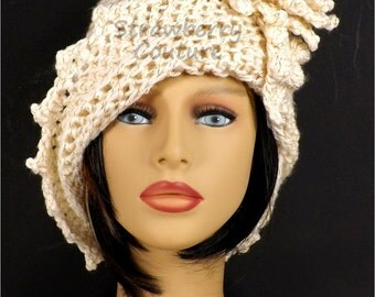 Sparkle Ivory Cloche Hat,  Womens Crochet Hat,  Ivory Womens Hat 1920s,  Ivory Hat,  Lauren 1920s Cloche Hat,  Crochet Flower