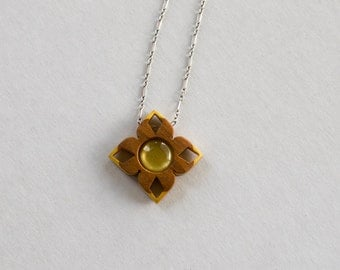 Original design intricate fine finished pendant blank - Cherry and Yellowheart - 12 mm