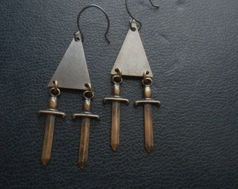 maid of orleans - joan of arc armor inspired earrings - knife dagger triangle chandelier regal romantic goth jewelry