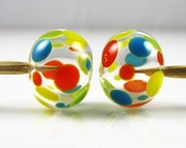 Summer Spots on Clear Hollow Lampwork Glass Bead Pairs
