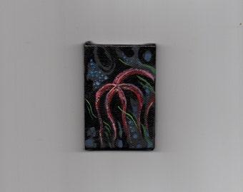 Tiny starfish miniature art original painting acrylic underwater ocean undersea art seaweed deep sea creature