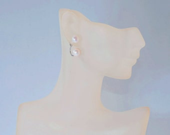 Double Fresh Water Pearls with Sterling Silver Post Earrings