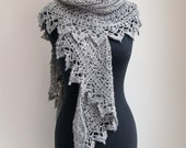 Crochet Lace Shawl Scarf Wrap Cowl, Stylish Comfort Prayer Meditation, Womens Fashion, Grey Heather Baby Alpaca, FREE SHIPPING Ready to Ship