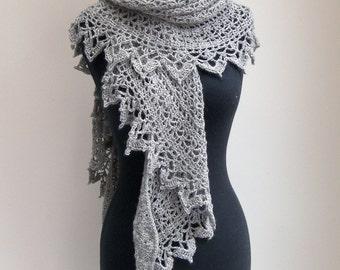 Custom Crochet Lace Shawl Scarf Wrap Cowl, Stylish Comfort Prayer Meditation, Wedding Bridal, Womens Fashion, Baby Alpaca, FREE SHIPPING