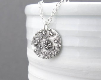 Tiny Silver Necklace Pendant Silver Layer Necklace Tiny Silver Charm Necklace Bohemian Jewelry Floral Jewelry Silver Jewelry - Unique Petite