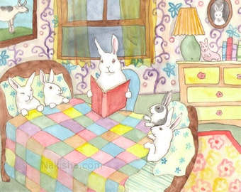 Bed Time Story - Fine Art Print - Rabbits
