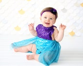 Romper - Tulle skirted, Skirted, Sequin Top Romper - Sequin Romper - Princess Romper - Birthday Romper - Photoshoot - Purple Mermaid Romper