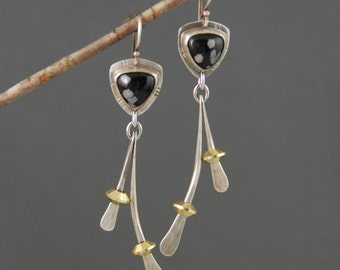 Snowflake Obsidian Wishbone Earrings