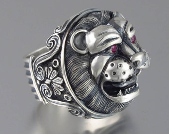 LION'S HEAD sterling silver statement ring with ruby eyes