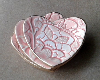 FOUR Ceramic Heart ring bowls With Gold Edge  Coral  2 1/2 inches