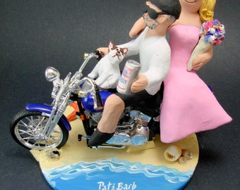Harley Davidson Bikers on Beach Wedding Cake Topper, Bikers Wedding Anniversary Gift/Cake Topper, Wedding Anniversary Gift for Harley Riders