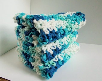 Set of 3 Crochet Dishcloths Washcloths Bathcloths-Gift-Housewarming