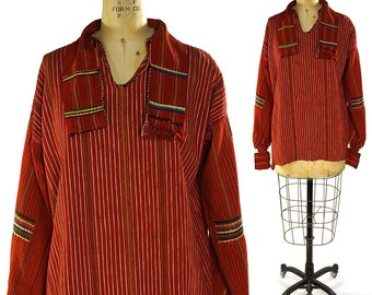 Huipil Blouse / Vintage 1970s Woven Guatemalan or Mexican Shirt with Embroidery