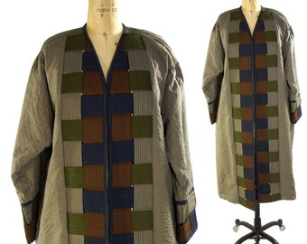 Woven Cotton Duster / Vintage 1980s Kimono Style Jacket of Quilted Basket-Woven Cotton Strips / Artsy Bohemian Coat / Art to Wear
