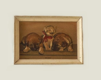 Vintage Susie Smiling Cat Relief Print Kitten & Puppy Dogs Framed Print The History of Susie Children Nursery Wall Art