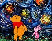 Winnie The Pooh Art - Starry Night Pooh and Piglet print van Gogh Never Saw Hundred Acre Wood by Aja 8x8, 10x10, 12x12, 20x20, 24x24 choose