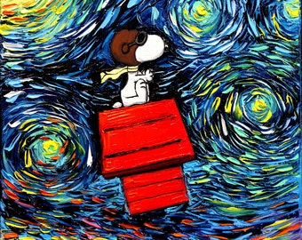 Snoopy Art - Peanuts dog Starry Night print van Gogh Never Faced The Red Baron by Aja 8x8, 10x10, 12x12, 20x20, and 24x24 inches choose size