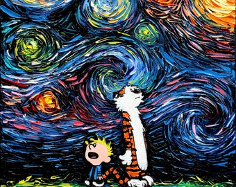 Calvin and Hobbes Art CANVAS print What If van Gogh Had An Imaginary Friend Aja 8x8, 10x10, 12x12, 16x16, 20x20, 24x24, 30x30 choose