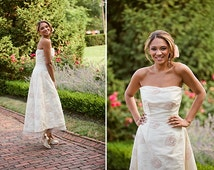 Sample SALE - Couture Beaded Strapless Hi-Lo Hem Gown