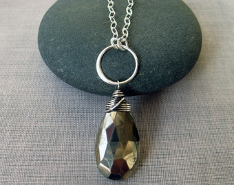Long Pyrite Pendant Necklace, Layering Necklace, Wire Wrapped Sterling Silver & Gemstone Necklace