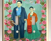 Frida Kahlo Diego Rivera Wedding with Roses - Mexican Folk Art - Altered Art - Double Light Switch Cover - Turquoise Green