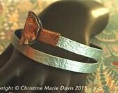 Sale... Pale blue smashed metal knitting needle BANGLE with button tips... fun vintage boho GYPSY style bracelet