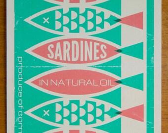 Vintage Style Packaging Print 15x20cm - Sardines