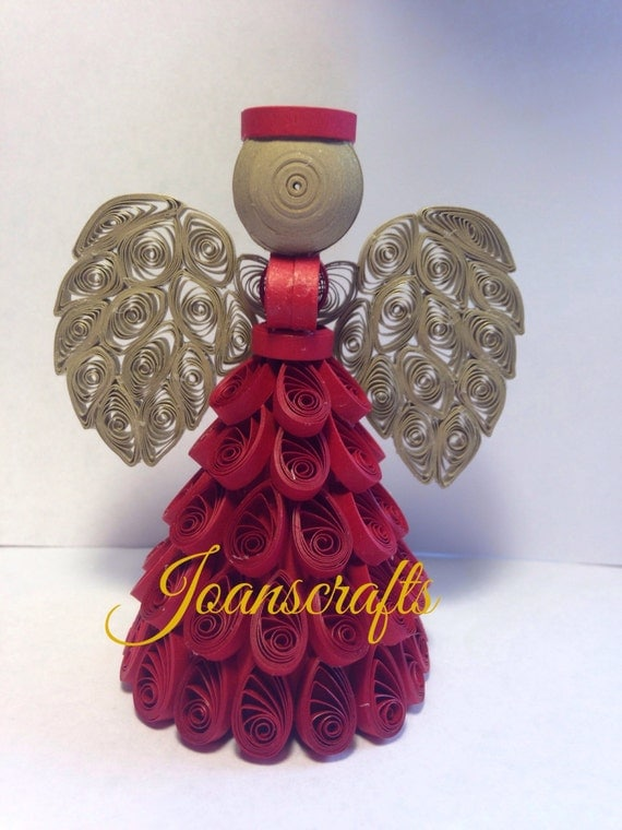 Deep Red and Gold Quilled Angel, limited quanity