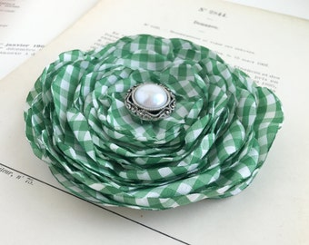 Green Gingham Flower Hair Clip.Grass Green Flower.Gingham Brooch.pin.Green Hair Accessory.Hair Piece.checkered.checked.Wedding Hair Piece