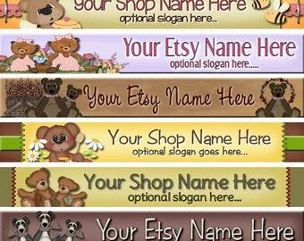 Raggedy Dreams  Designs - Premade ETSY Shop Banner - Etsy Banner - Shop Icon - Assorted Primitive Teddy Bear Tea Cups