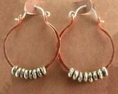 Hammered Copper Hoop Earrings Mixed Metal Jewelry African Found Metal Silver Beaded Hoops Rustic Jewelry Handmade Hinged Hoops Gift for Her
