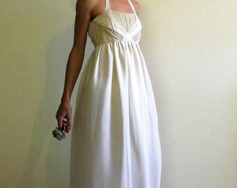 Boho bridal gown, silk wedding dress, halter braided bodice, empire waist dress, alternative bridal dress, ivory and white silk