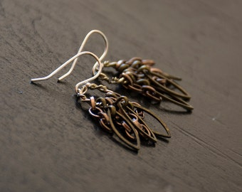 Steampunk Industrial Feather Earrings - Mixed Metals - Hoop and Chains - Post-apocalyptic Jewelry - Sterling Silver Earwires
