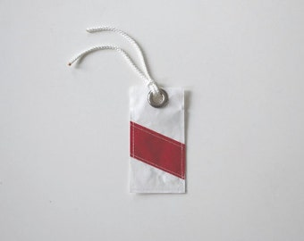 Recycled Sail Luggage Tag - Red Stripe