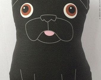 Buddy- Large Black Pug Plush