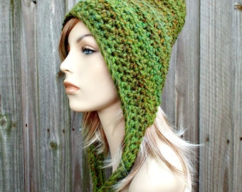 Crocheted Hat Womens Hat - Oversized Crocheted Pixie Hat in Mixed Greens - Green Hat Green Pixie Hat Womens Accessories Winter Hat
