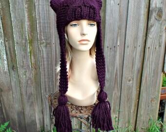 Eggplant Purple Knit Hat Womens Hat - Tassel Dragon Purple Ear Flap Hat - Purple Hat Womens Accessories Fall Fashion Winter Hat