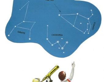Star Map Wall Art, Astronomers, Original Art Collage on Paper, OOAK Artwork, Constellation Chart, Astronomy Wall Art, Star Map Artwork