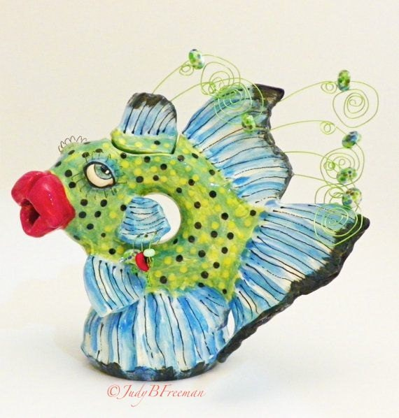 Fish Teapot Polka Dotted Decorative Made to Order Bluefin Trevaly TPT002