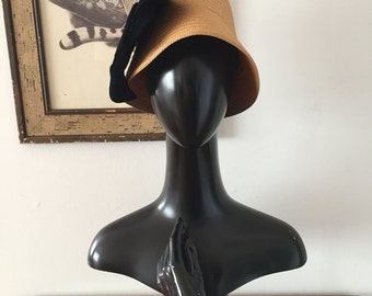Avant Garde 1960s Cloche with Black Velvet Bow