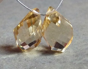 AAA - Champagne Citrine Faceted Twisted Tear Drop Briolette Beads - 7x11mm - Matched PAIR